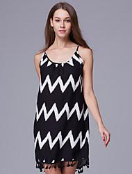 Women's Casual Sexy Summer Loose Wave Pattern Tassel Sling Dress Beach Skirt