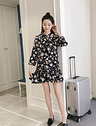 Women's Birthday Party/Evening Daily Casual Chiffon Trumpet/Mermaid Dress,Floral Print Stand Above Knee Long Sleeve Others Spring Summer