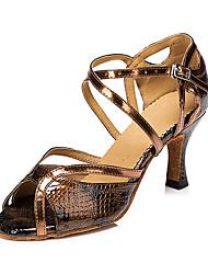 Maßfertigung Damen Latin Kunstleder Sandalen Sneakers Professionell Blockabsatz Bronze 5 - 6,8 cm