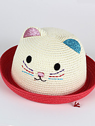 Kids' Sun Hat Kitten Emobroidery Glitter Ear Rhinestong Nose Straw Hat