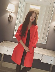 Women's Casual/Daily Cute Spring Summer Coat,Solid Peter Pan Collar Long Sleeve Long Cotton