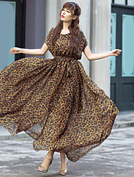 Europa e temperamento leopardo chiffon longo vestido saia grande comprimento balanço mulheres de grande porte
