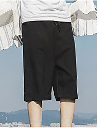 Men's Mid Rise Micro-elastic Shorts Pants,Simple Wide Leg Solid