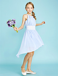 LAN TING BRIDE Asymmetrical Chiffon Junior Bridesmaid Dress Sheath / Column Jewel Natural with Sequins