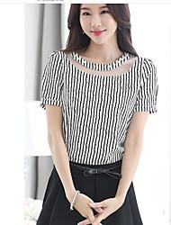 Damen Gestreift Einfach T-shirt,Rundhalsausschnitt Kurzarm Polyester