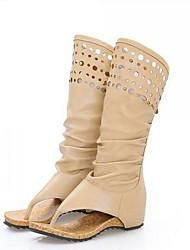 Women's Boots Comfort Fashion Boots PU Summer Casual Comfort Fashion Boots Khaki Beige 2in-2 3/4in