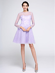TS Couture Cocktail Party Prom Dress - Short A-line Jewel Knee-length Lace with Flower(s) Lace