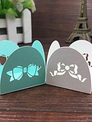50pcs White/Blue Bow-knot Laser Cut Chocolate Packaging Bar Candy Wrappers Party Supplies/party Decoration.
