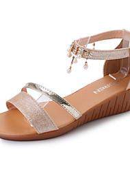 Women's Sandals Comfort Light Soles Summer PU Walking Shoes Casual Dress Beading Buckle Block Heel Gold Silver 3in-3 3/4in