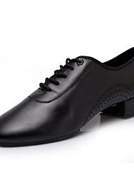 Men's Modern Cowhide Heels Practice Black White
