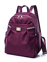 Women Backpack PU Nylon All Seasons Casual Sports Formal Outdoor Office & Career Traveling Round Zipper Amethyst Black