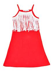 Girl's Solid Dress Cotton Summer Sleeveless Harness Tassel Kids Girls Dress Fashion Toddler Girls Dresses