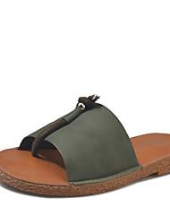 Women's Flats Light Soles TPU Summer Casual Dress Walking Light Soles Beading Low Heel Dark Green Khaki Black Flat
