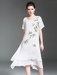 Ample Robe Femme Décontracté / Quotidien Vintage Chinoiserie,arbres/Feuilles Imprimé Col Arrondi Midi Asymétrique Manches CourtesCoton