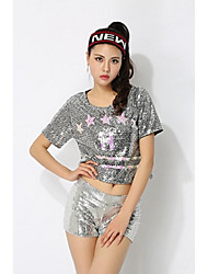 Cheerleader Costumes Tops Women's Performance Polyester Paillettes 1 Piece Short Sleeve High Tops