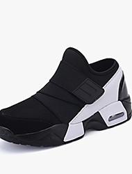 Men's Sneakers Comfort Spring Fall PU Running Shoes Casual Hook & Loop Flat Heel Black Black/White Black/Red 2in-2 3/4in