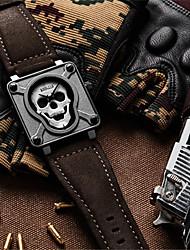 Homens Relógio Esqueleto Relógio de Moda Relógio de Pulso Quartzo Impermeável Noctilucente Couro Legitimo Banda Caveira Preta Marrom
