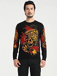 Standard Pullover Da uomo-Quotidiano Casual Semplice Pop art Vari colori Rotonda Manica lunga Cotone Maglia Primavera AutunnoMedio