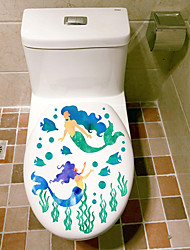 Wall Stickers Wall Decas Style Mermaid Water Grass Toilet Decoration PVC Wall Stickers