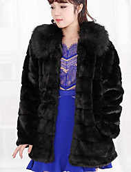 Women's Casual/Daily Simple Fall Winter Fur Coat,Solid Hooded Long Sleeve Regular Others