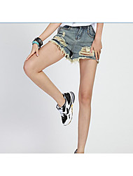 Women's High Waist Micro-elastic Loose Jeans Pants,Simple Relaxed Pure Color Ripped Solid