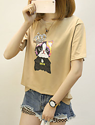 Feminino Camiseta Casual Simples Gato 100% algodão Decote Redondo Manga Curta