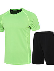Men's Running T-Shirt with Shorts Moisture Wicking Quick Dry Breathable Clothing Suits for Running/Jogging Exercise & Fitness Black/Green