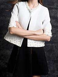 Veste Femme,Couleur Pleine Décontracté Anniversaire Printemps Recadrée Pant Col en V Normal Coton taille grande