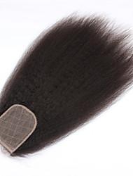 Cierre virginal brasileño del pelo del beata del pelo 4 * 4inch cierre de seda brasileño recto rizado kinky del pelo 8-20inch largo 1