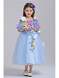 Princess Ankle-length Flower Girl Dress - Cotton Tulle V-neck with Flower(s)