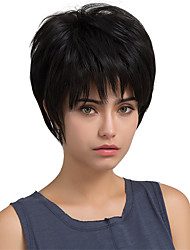 Fashionable Straight Short Oblique fringe Black Hair Human Hair Wigs