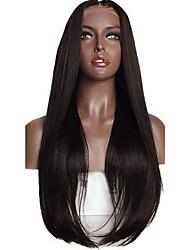 Soie droite naturelle noir midlle partie style pour femmes noires lentes sans lacet devant cheveux humains perruques 8-26 pouces sans
