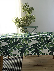 Waterproof Pastoral Green Bamboo Plants Cotton And Linen Material Modern Table Cloth 60*60cm