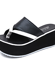 Women's Slippers & Flip-Flops Comfort Slouch boots PU Summer Casual Walking Comfort Slouch boots Flat Heel White Black Flat