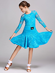 Latin Dance Dresses Children's Training Lace Splicing 1 Piece Long Sleeve Natural Dress
