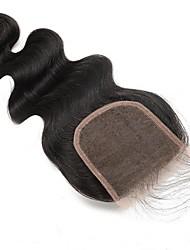 100% Menschenhaarspitze Verschluss frei / Mitte / drei Teil natürliche schwarze peruanische Körperhaarverschluss 5x5 Zoll 120% Dichte