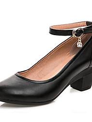 Feminino Saltos Sapatos formais Couro Primavera Outono Sapatos formais Salto Grosso Preto Amêndoa 12 cm ou mais