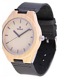 REDEAR®Men's Wood Watch Japanese Miyota Quartz Wooden Genuine Leather Band Elegant Black