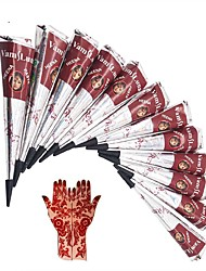 12X Natural Henna Tattoo Ink - India Mehendi Ink For Body Art Painting for Men & Women