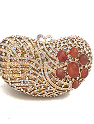 Women Exquisite Day Evening Clutches Mosaic Gem with Heart Design Silver/Gold
