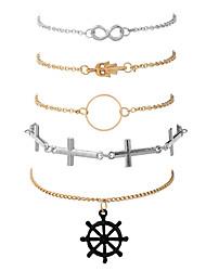 Mulheres Pulseiras em Correntes e Ligações Bracelete Moda Hip-Hop Rock Jóias inicial Liga de Metal Chapeado Dourado MetálicoForma