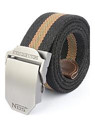Men's Alloy Outdoor Waist Belt Casual/Business Color Block Striped Cotton Canvas Belt Khaki/Black/Army Green/Grey