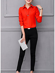 Women's Casual/Daily Simple Fall Shirt Pant Suits,Solid Shirt Collar 3/4 Length Sleeve Micro-elastic
