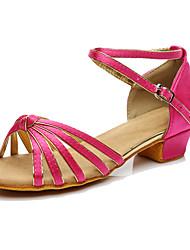 Women's Latin Silk Sneakers Performance Low Heel Fuchsia Customizable