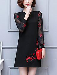 Ample Robe Femme Soirée Sortie Grandes Tailles Vintage Chinoiserie,Mosaïque Broderie Col en V Au dessus du genou Manches LonguesCoton