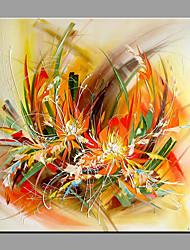 Pintada a mano Floral/Botánico Moderno/Contemporáneo Un Panel Lienzos Pintura al óleo pintada a colgar For Decoración hogareña