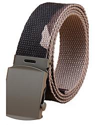 Men's Alloy Military Waist Belt Casual/Business Solid Pure Color Cotton Canvas Belt Khaki/Black/Rainbow/Army Green