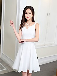 Women's Casual/Daily Lace Dress,Solid Round Neck Knee-length Sleeveless Polyester 100%Cotton Summer Mid Rise Micro-elastic Medium