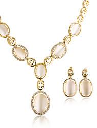 Mulheres Colares com Pendentes Brincos Set Opala Opal imitação Circular Pingente Geométrico Vintage Ajustável Clássico Chapeado Dourado