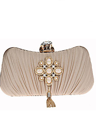 Women Evening Bag Polyester All Seasons Wedding Event/Party Formal Creative Pleated Clasp Lock Navy Blue Wine Almond Silver Black
